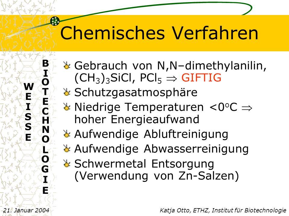 Chemisches Verfahren E. B. I. O. T. C. H. N. L. G. Gebrauch von N,N–dimethylanilin, (CH3)3SiCl, PCl5  GIFTIG.