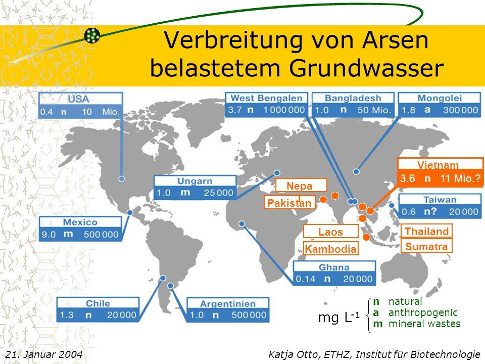 Verbreitung von Arsen belastetem Grundwasser