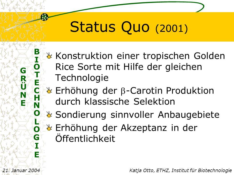 Status Quo (2001) E. B. I. O. T. C. H. N. L. G. Konstruktion einer tropischen Golden Rice Sorte mit Hilfe der gleichen Technologie.