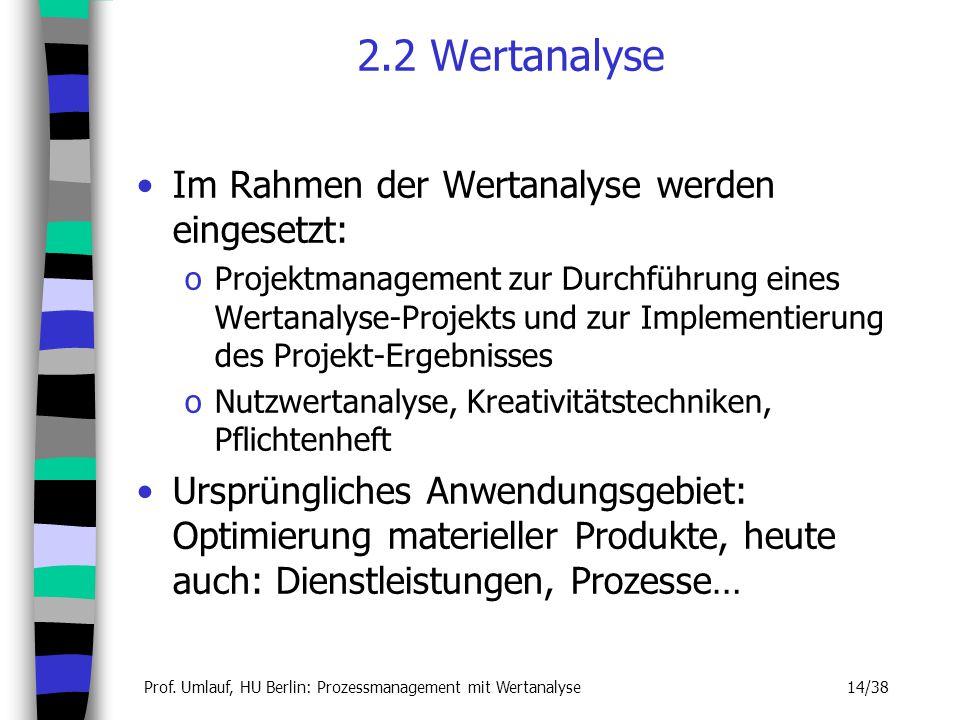 2.2 Wertanalyse Im Rahmen der Wertanalyse werden eingesetzt: