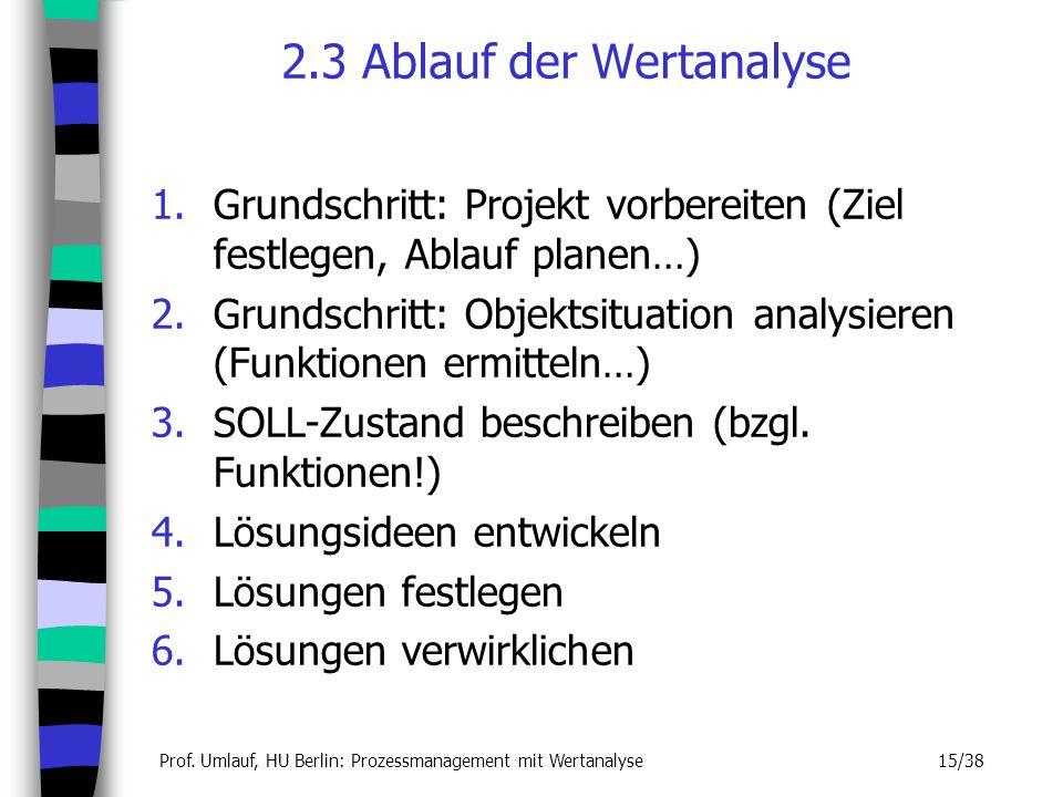 2.3 Ablauf der Wertanalyse