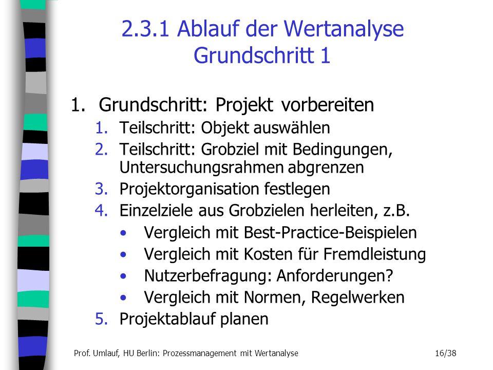 2.3.1 Ablauf der Wertanalyse Grundschritt 1