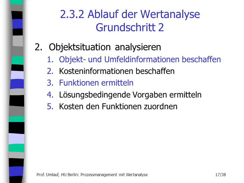 2.3.2 Ablauf der Wertanalyse Grundschritt 2