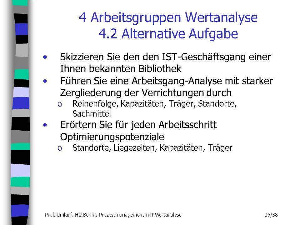 4 Arbeitsgruppen Wertanalyse 4.2 Alternative Aufgabe