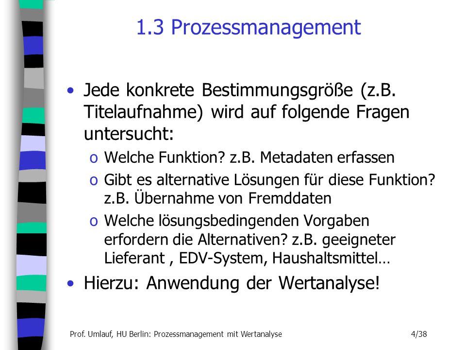 1.3 Prozessmanagement Jede konkrete Bestimmungsgröße (z.B. Titelaufnahme) wird auf folgende Fragen untersucht: