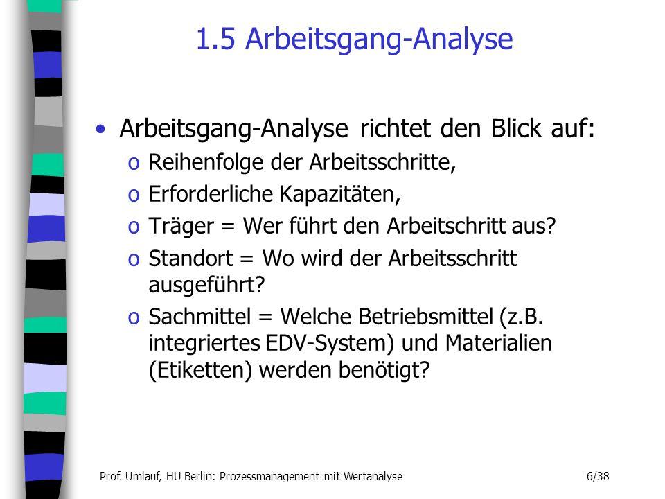 1.5 Arbeitsgang-Analyse Arbeitsgang-Analyse richtet den Blick auf: