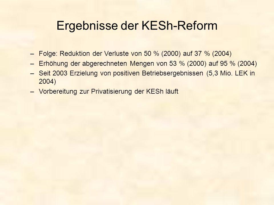 Ergebnisse der KESh-Reform