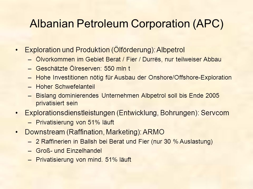 Albanian Petroleum Corporation (APC)