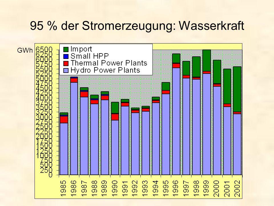 95 % der Stromerzeugung: Wasserkraft