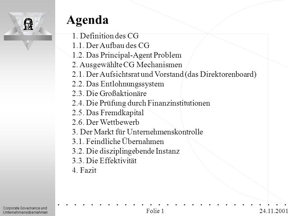 Agenda 1. Definition des CG 1.1. Der Aufbau des CG