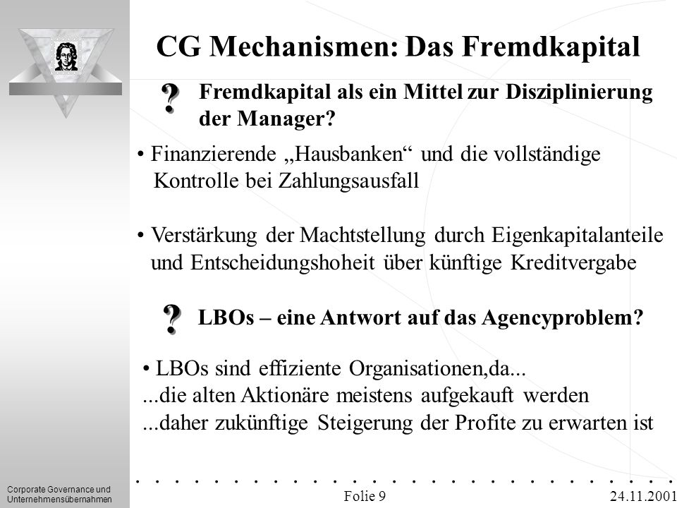 CG Mechanismen: Das Fremdkapital
