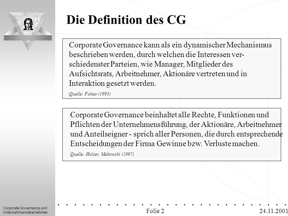 16/04/2017 Die Definition des CG. Corporate Governance kann als ein dynamischer Mechanismus. beschrieben werden, durch welchen die Interessen ver-