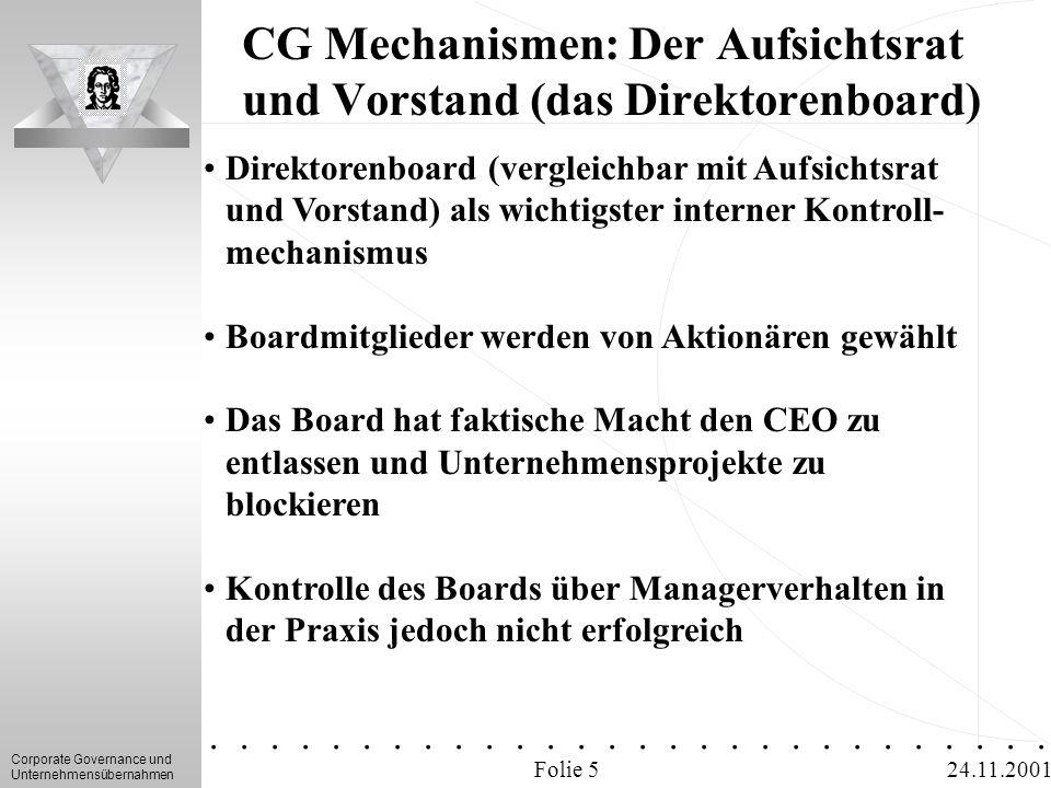 CG Mechanismen: Der Aufsichtsrat und Vorstand (das Direktorenboard)
