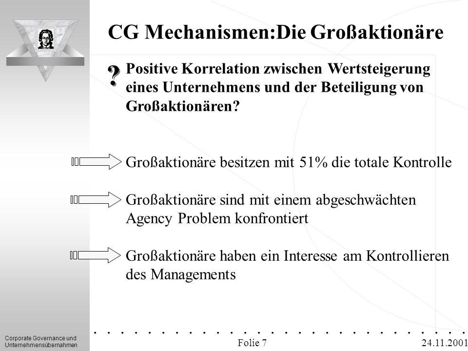 CG Mechanismen:Die Großaktionäre