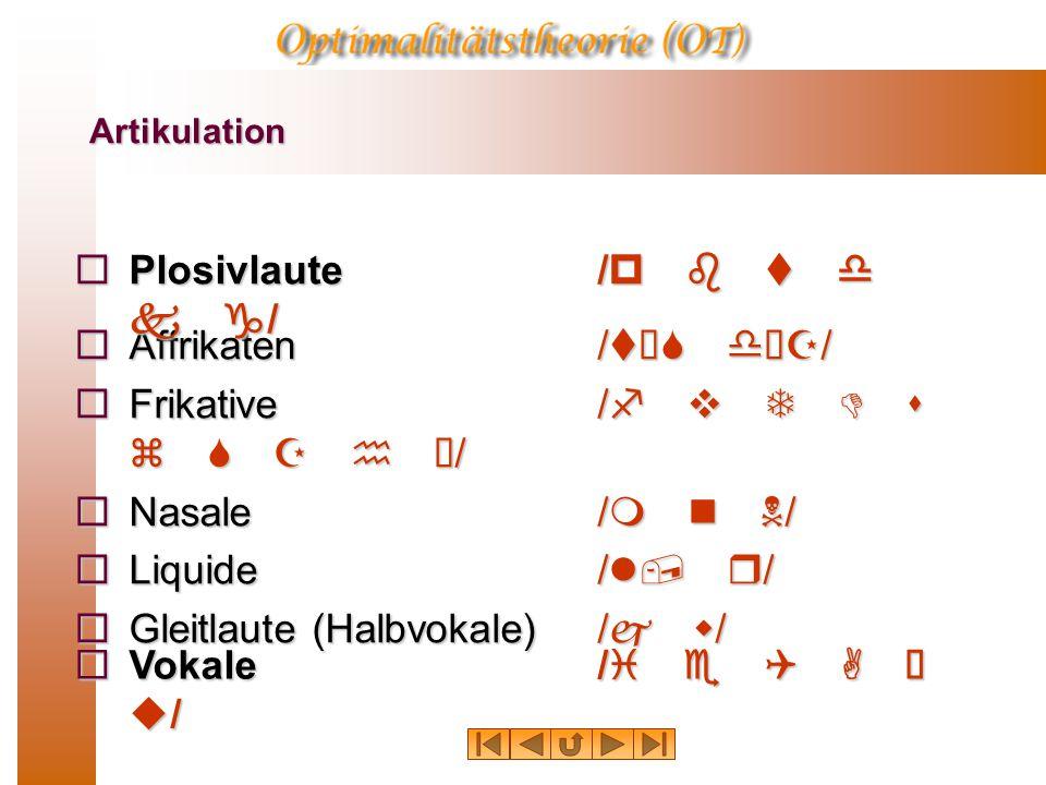 Frikative /f v T D s z S Z h ú/ Nasale /m n N/ Liquide /l, r/