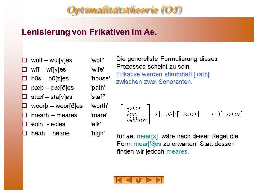 Lenisierung von Frikativen im Ae.
