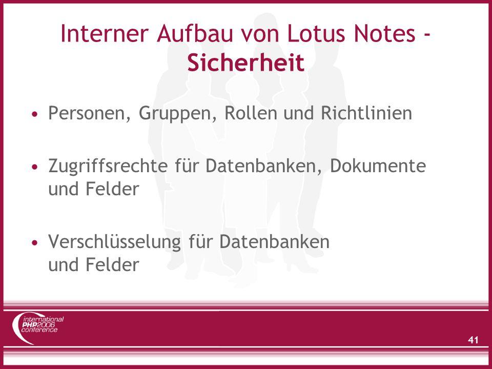 Zugriff auf Notes Daten - Topologie
