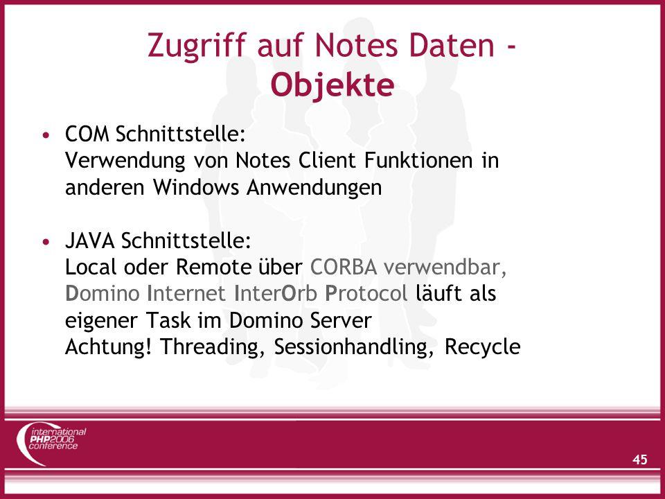 Zugriff auf Notes Daten - Objekte