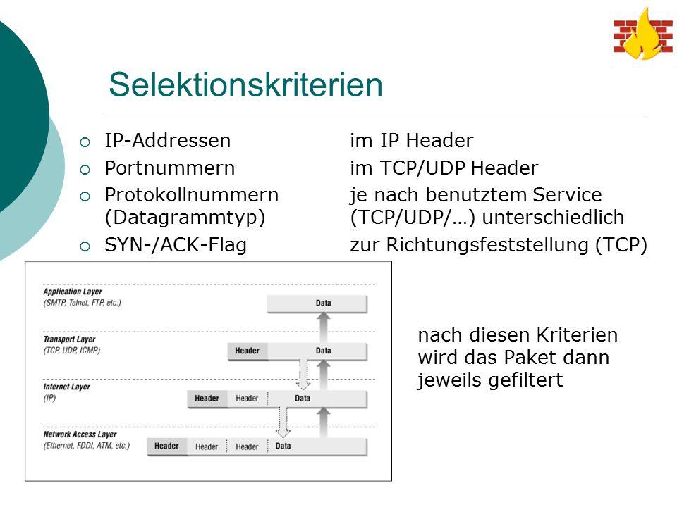 Selektionskriterien IP-Addressen im IP Header