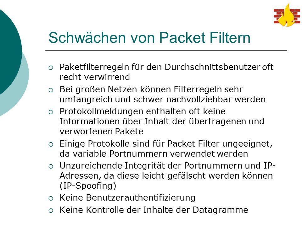 Schwächen von Packet Filtern