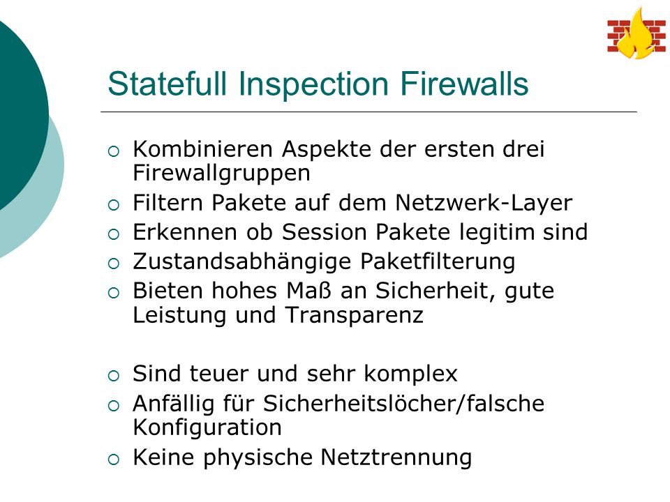 Statefull Inspection Firewalls