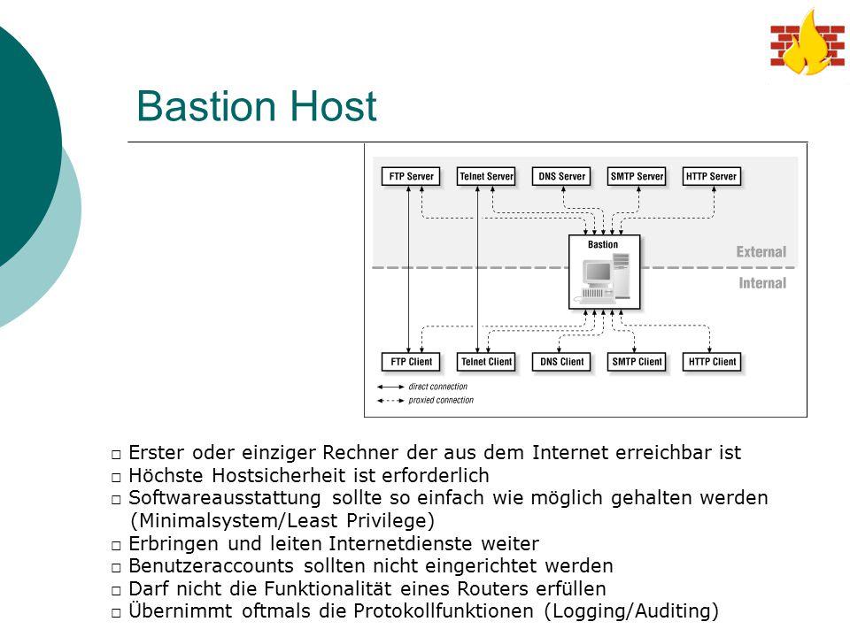 Bastion Host Erster oder einziger Rechner der aus dem Internet erreichbar ist. Höchste Hostsicherheit ist erforderlich.