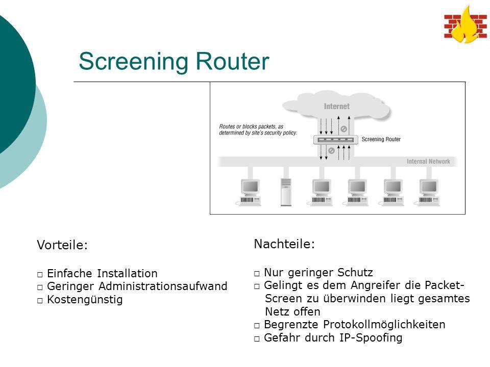 Screening Router Vorteile: Nachteile: Einfache Installation