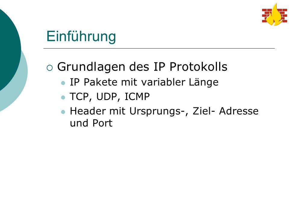 Einführung Grundlagen des IP Protokolls IP Pakete mit variabler Länge