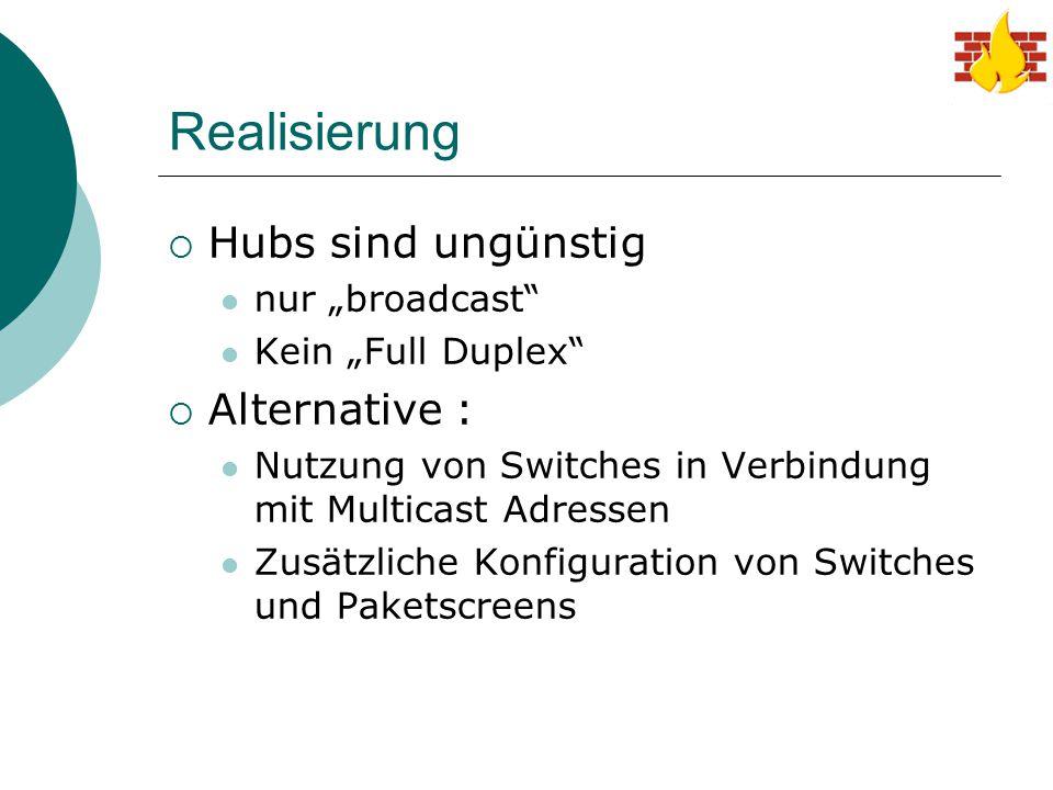 """Realisierung Hubs sind ungünstig Alternative : nur """"broadcast"""