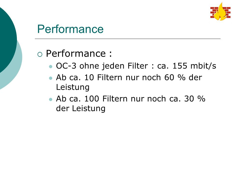 Performance Performance : OC-3 ohne jeden Filter : ca. 155 mbit/s