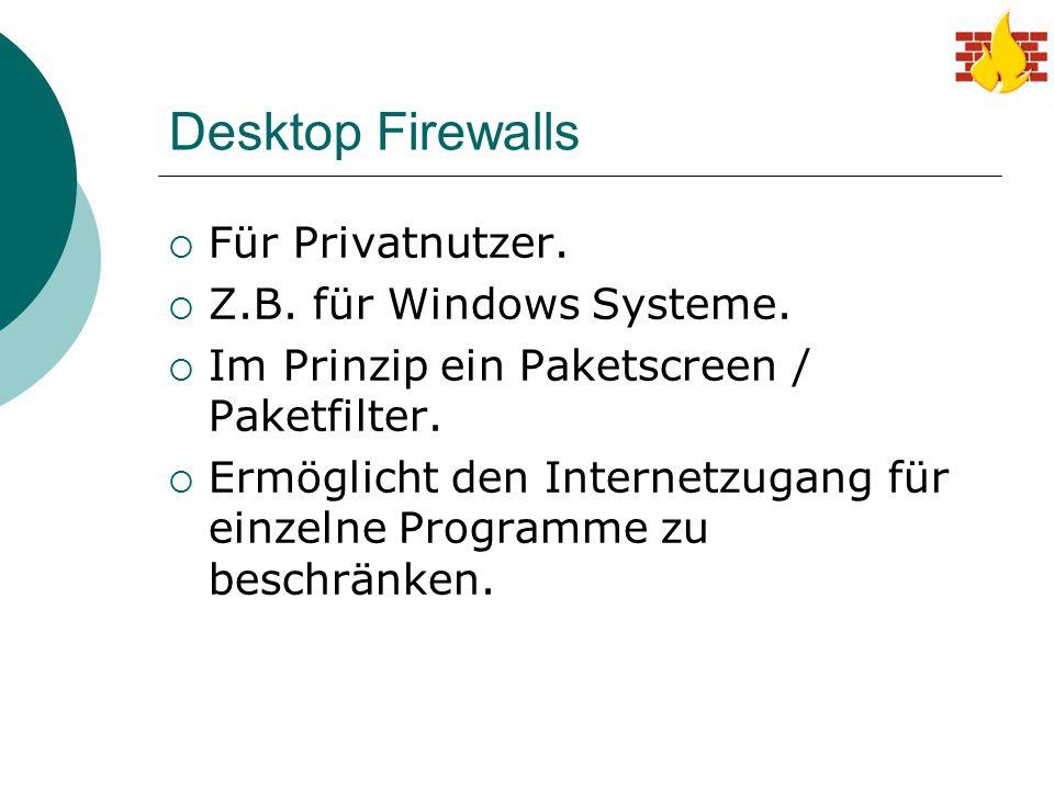 Desktop Firewalls Für Privatnutzer. Z.B. für Windows Systeme.