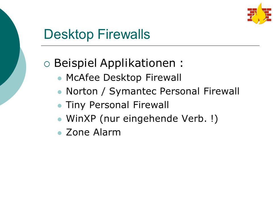Desktop Firewalls Beispiel Applikationen : McAfee Desktop Firewall
