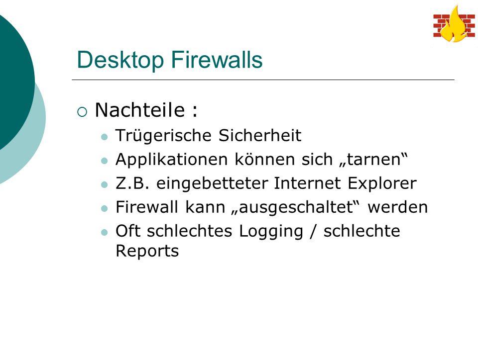 Desktop Firewalls Nachteile : Trügerische Sicherheit