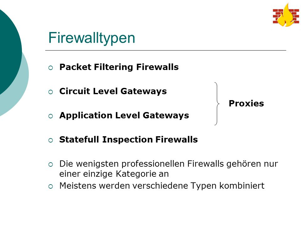 Firewalltypen Packet Filtering Firewalls Circuit Level Gateways
