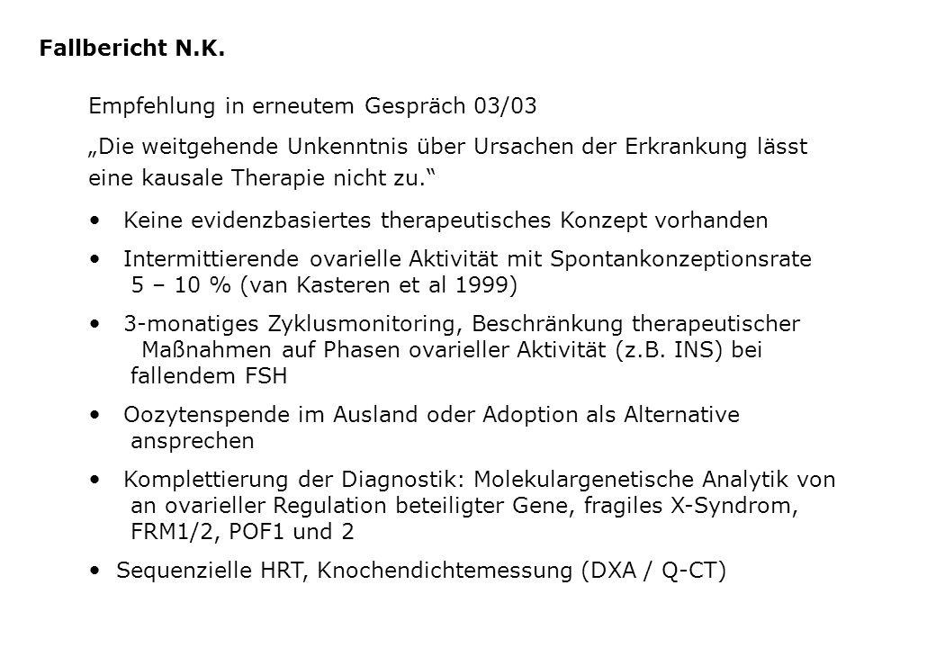 Fallbericht N.K. Empfehlung in erneutem Gespräch 03/03.
