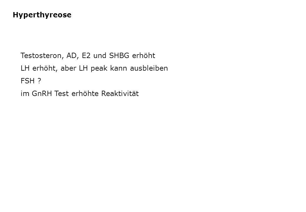 Hyperthyreose Testosteron, AD, E2 und SHBG erhöht. LH erhöht, aber LH peak kann ausbleiben. FSH