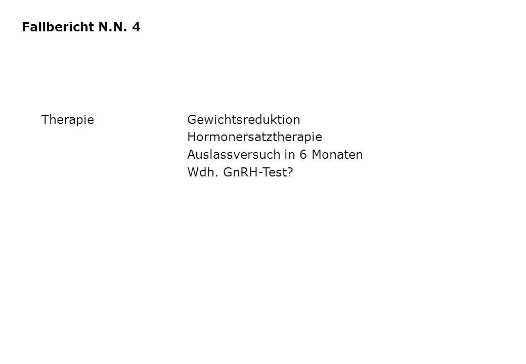 Fallbericht N.N. 4 Therapie Gewichtsreduktion. Hormonersatztherapie. Auslassversuch in 6 Monaten.