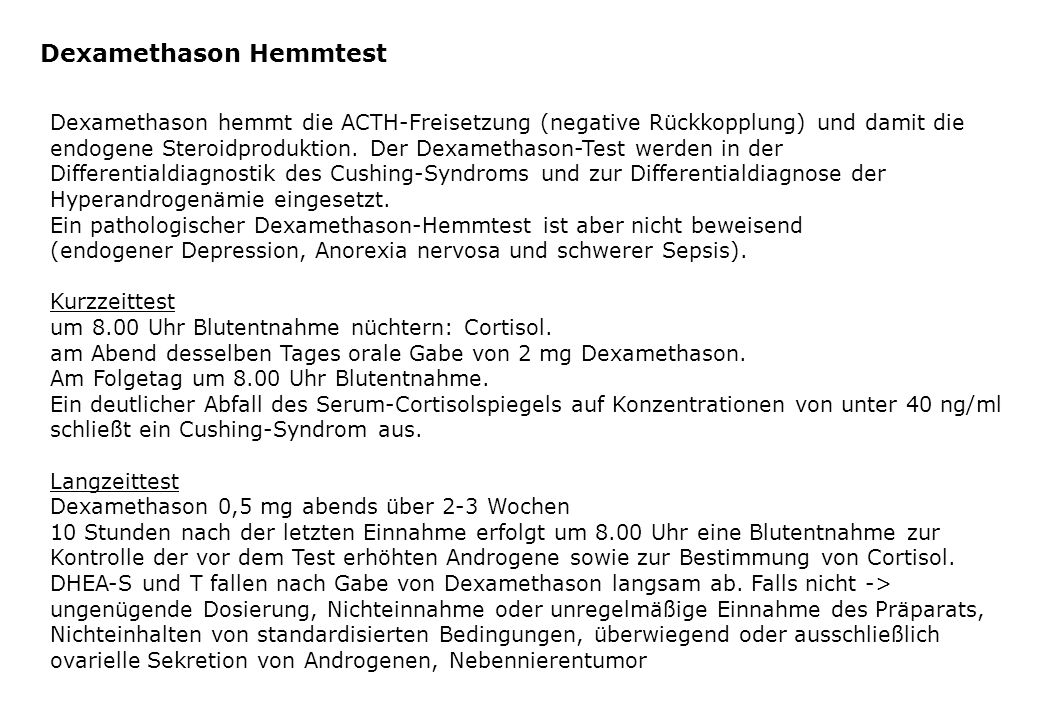 Dexamethason Hemmtest