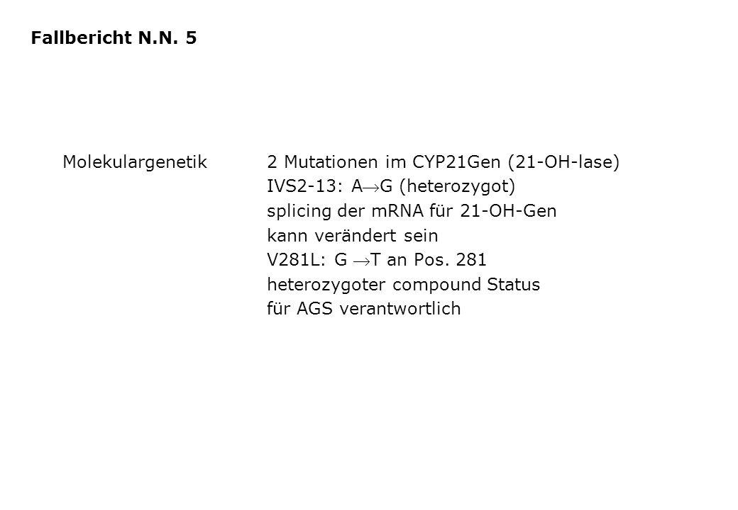 Fallbericht N.N. 5 Molekulargenetik 2 Mutationen im CYP21Gen (21-OH-lase) IVS2-13: AG (heterozygot)