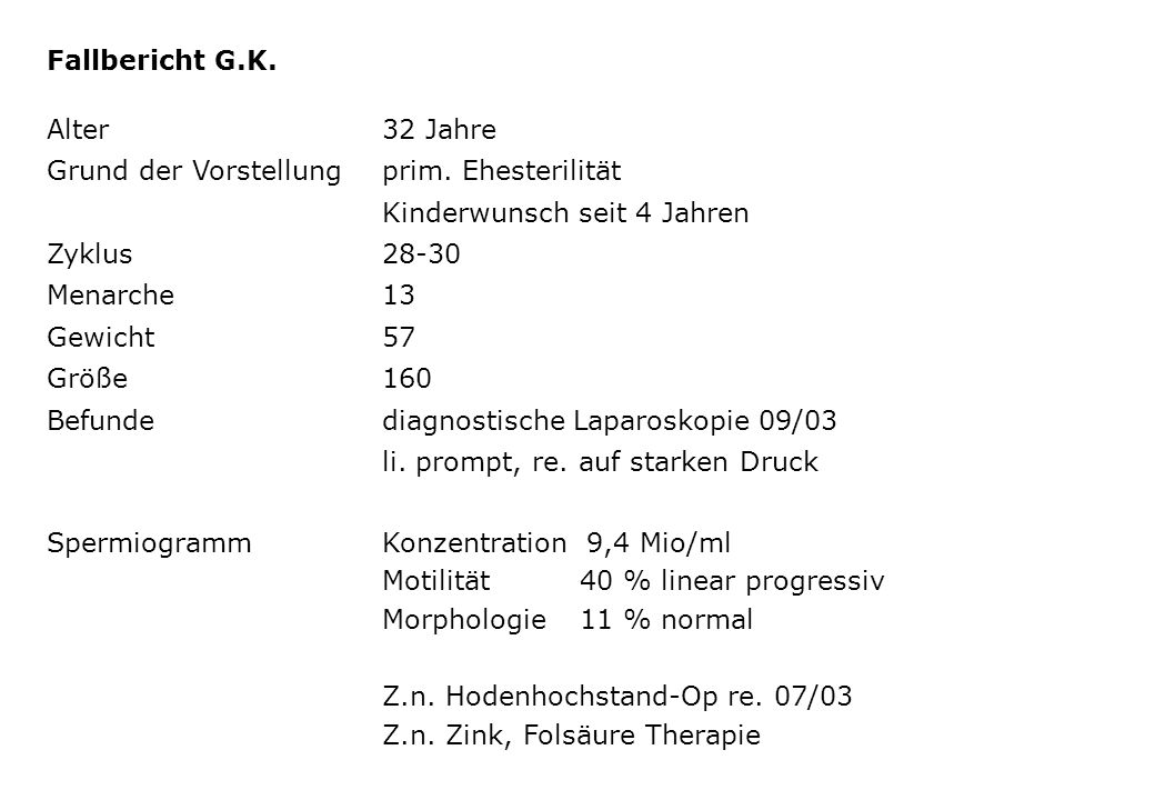 Fallbericht G.K. Alter 32 Jahre. Grund der Vorstellung prim. Ehesterilität. Kinderwunsch seit 4 Jahren.