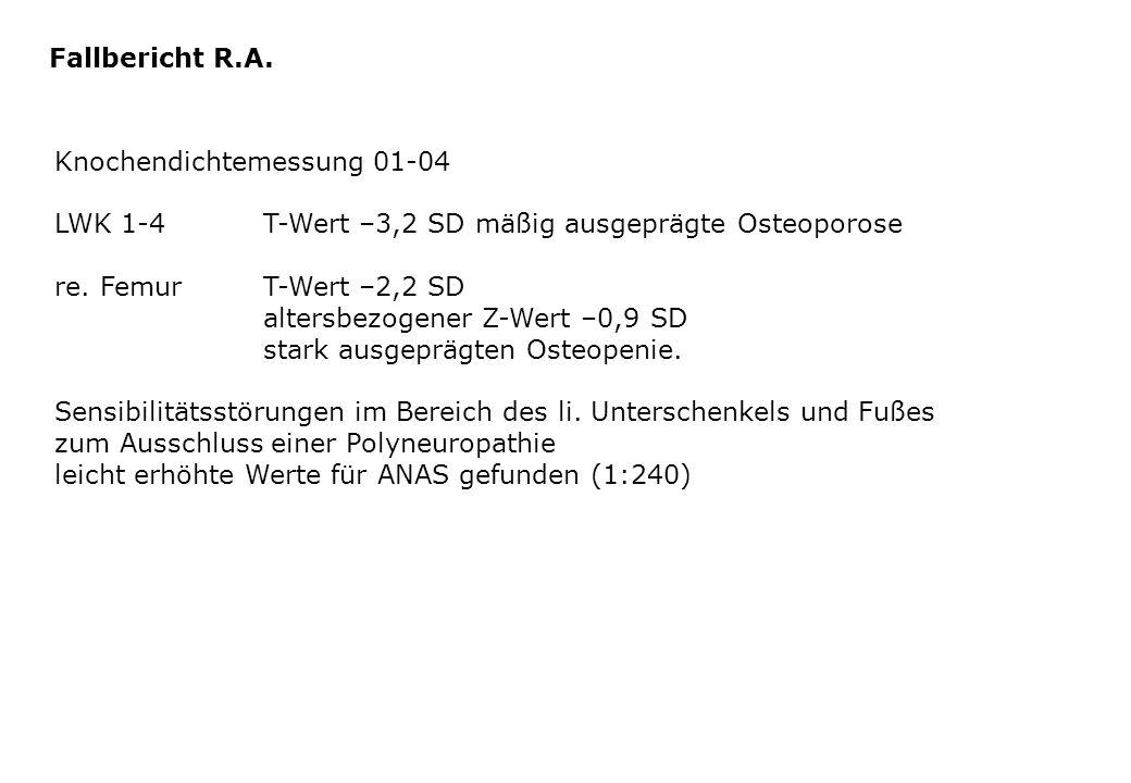 Fallbericht R.A. Knochendichtemessung 01-04. LWK 1-4 T-Wert –3,2 SD mäßig ausgeprägte Osteoporose.