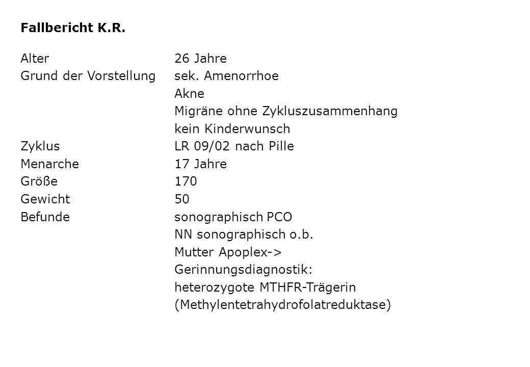 Fallbericht K.R. Alter 26 Jahre. Grund der Vorstellung sek. Amenorrhoe. Akne. Migräne ohne Zykluszusammenhang.