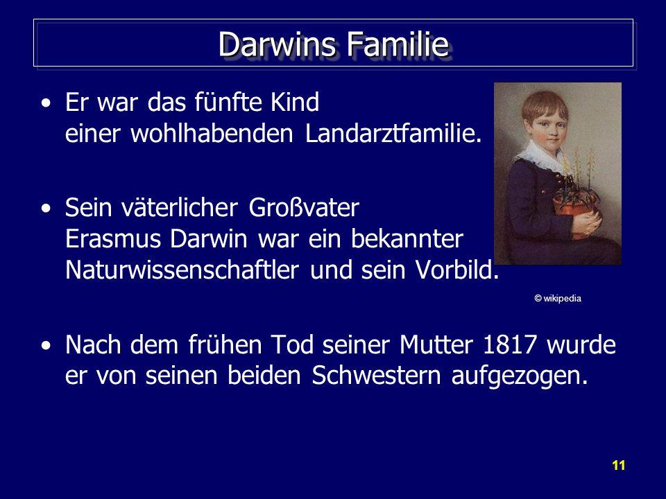 Darwins Familie Er war das fünfte Kind einer wohlhabenden Landarztfamilie.