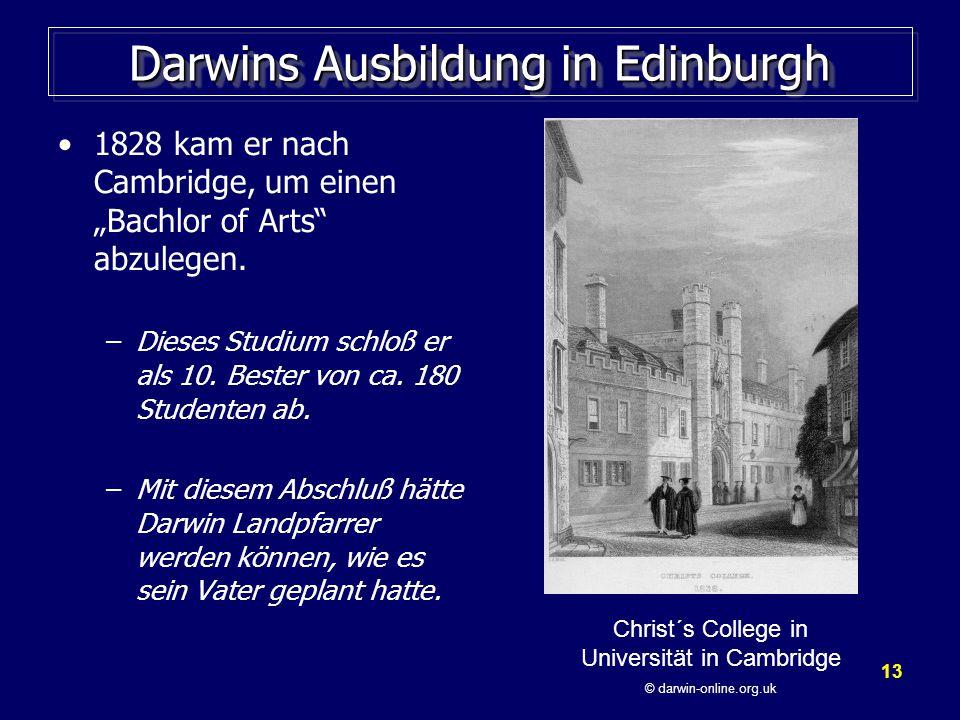 Darwins Ausbildung in Edinburgh