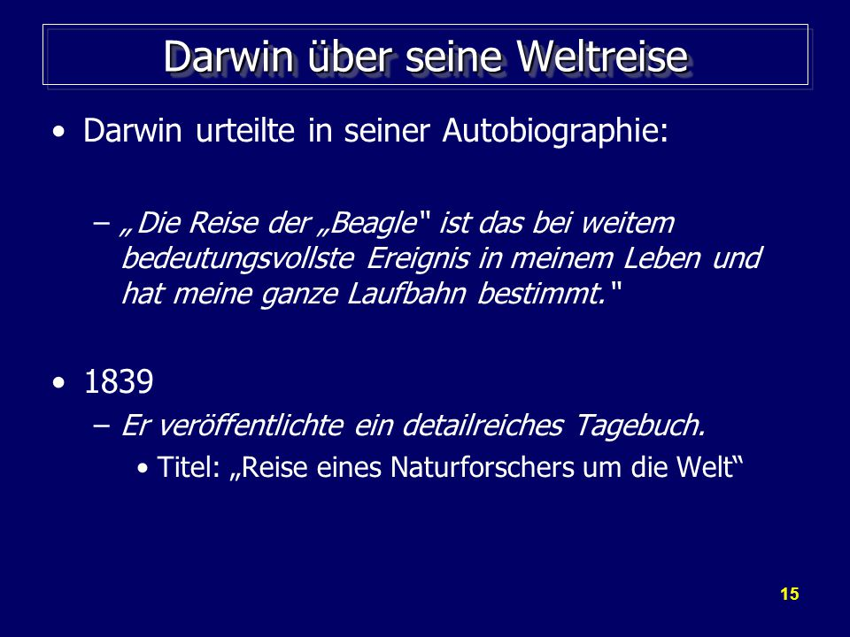 Darwin über seine Weltreise