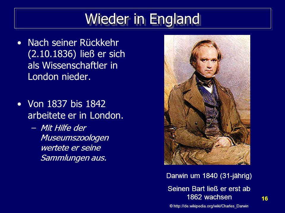 Wieder in England Nach seiner Rückkehr (2.10.1836) ließ er sich als Wissenschaftler in London nieder.