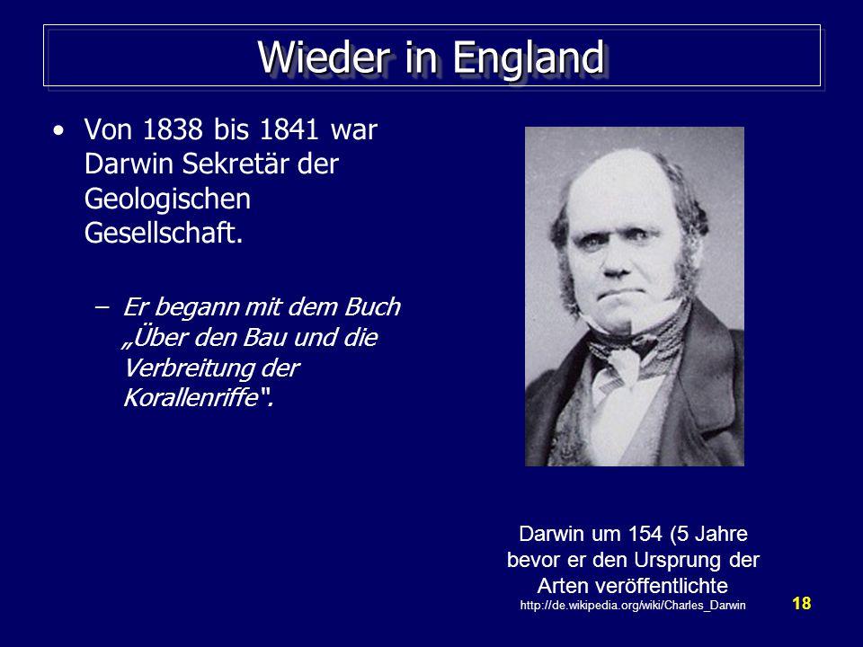 Wieder in England Von 1838 bis 1841 war Darwin Sekretär der Geologischen Gesellschaft.