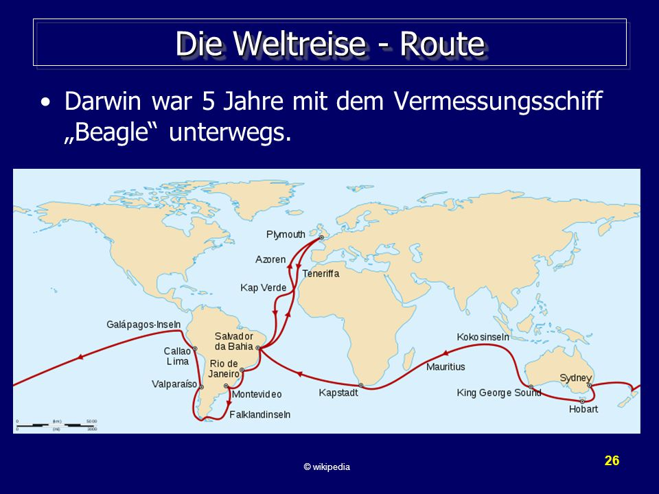 """Die Weltreise - Route Darwin war 5 Jahre mit dem Vermessungsschiff """"Beagle unterwegs."""