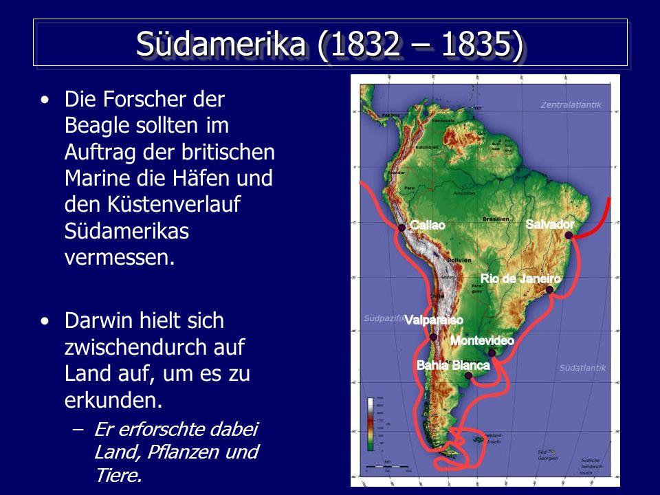 Südamerika (1832 – 1835) Die Forscher der Beagle sollten im Auftrag der britischen Marine die Häfen und den Küstenverlauf Südamerikas vermessen.