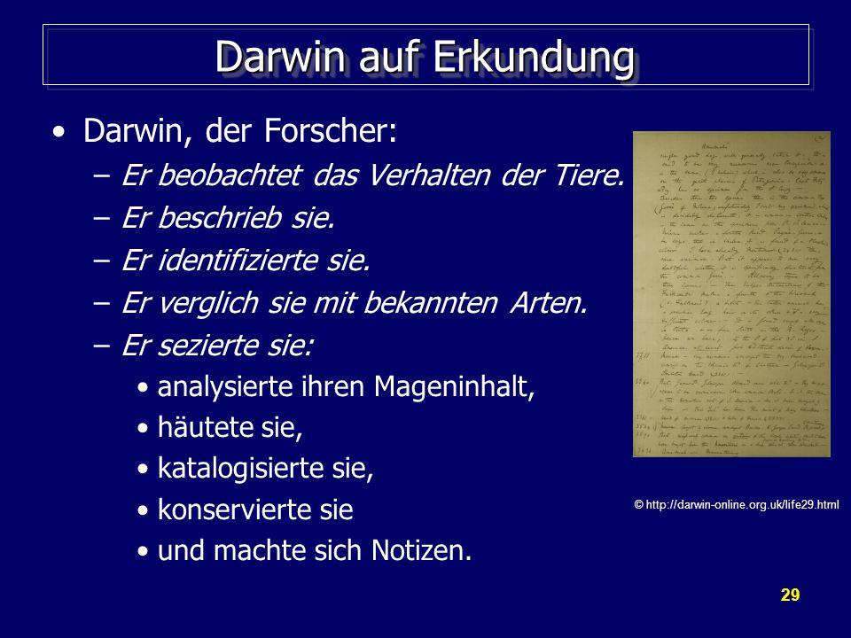 Darwin auf Erkundung Darwin, der Forscher: